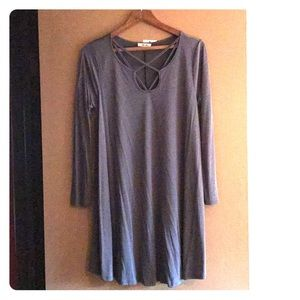 NWT Long sleeve grey large dress, cut out neckline
